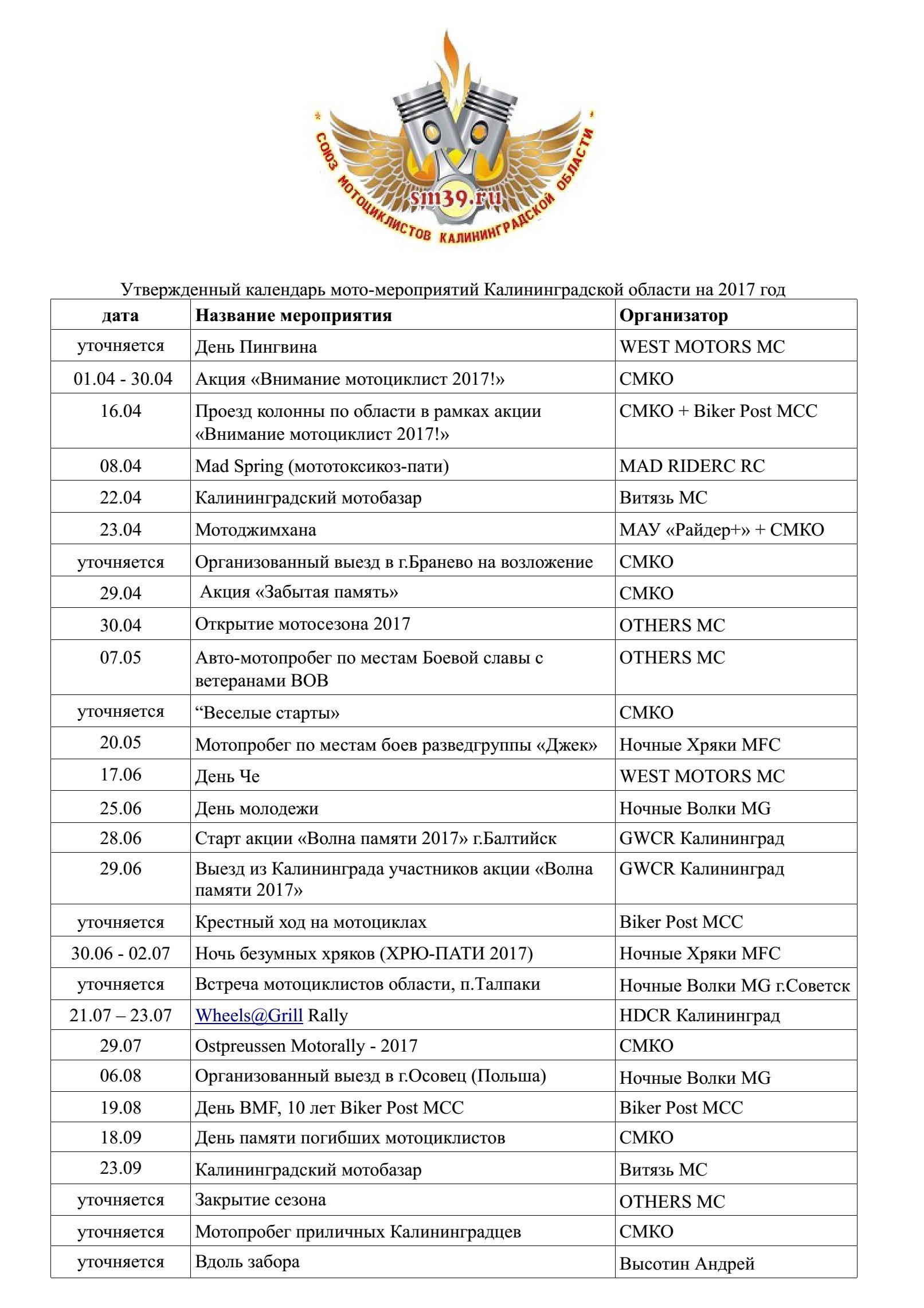 Календарь мото-мероприятий в Калининградской области на 2017 год